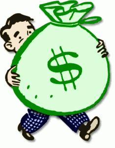 Precision | Cartoon holding money bag