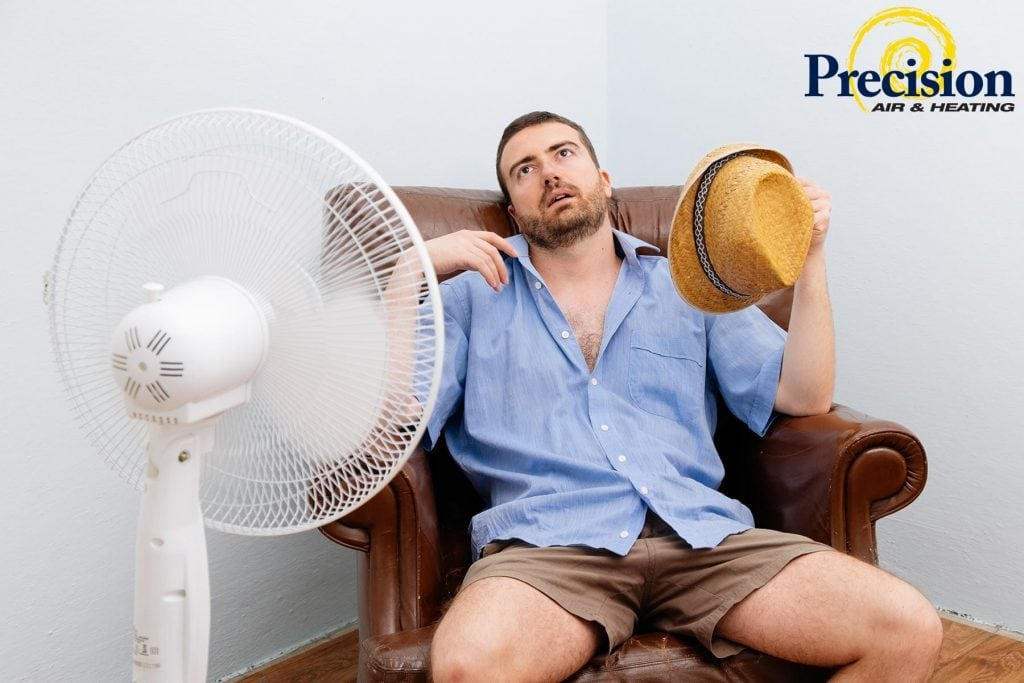 Precision | guy sitting in front of fan