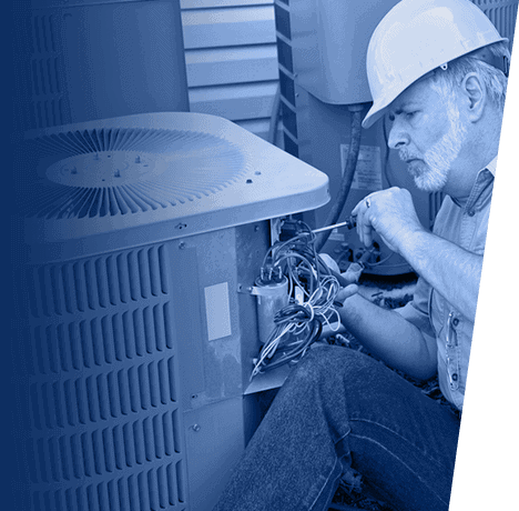 Precision Technician inspecting wiring of AC unit