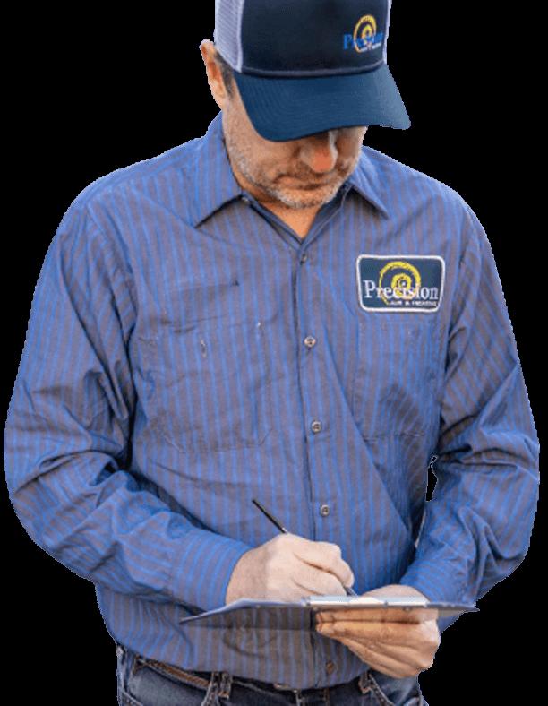 Precision AC technician performing an estimate